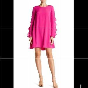 CeCe Drape Ruffle sleeve dress with fab back!